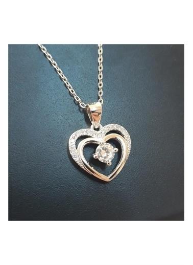 Enesstore Gümüş Çift Kalp Tektaş Bayan Gümüş Kolye Beyaz